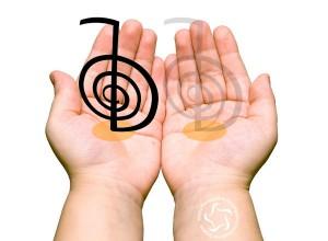 Exemplo de um chokurei desenhado na mão esquerda, ao juntar uma mão por cima da outra, as duas mãos ficam activadas.